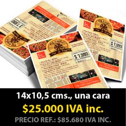 1000 Volantes 14x10,5 cms  (una cara impresa)